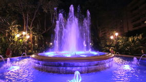 Illuminated fountain in Marbella, Spain stock video