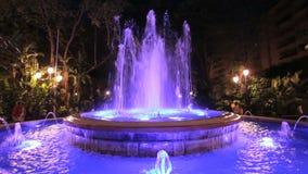 Illuminated fountain in Marbella, Spain stock video
