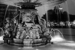 Illuminated Fountain at New Castle square in Stuttgart stock photos