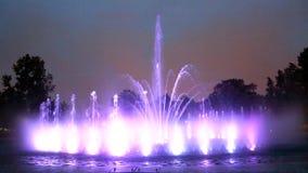The illuminated fountain stock footage