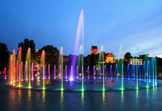 The illuminated fountain stock photo