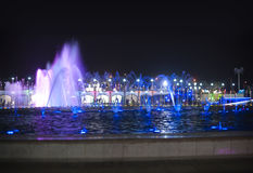 The illuminated fountain at night Stock Image