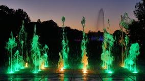 The illuminated fountain stock video footage