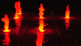 The illuminated fountain at night stock footage