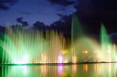 Illuminated fountain night Royalty Free Stock Photo