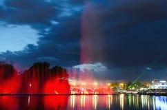 Illuminated fountain night Royalty Free Stock Photos