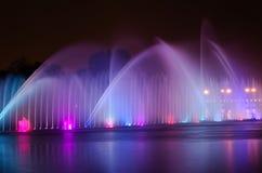 Illuminated fountain night Stock Photography