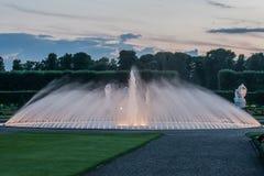 Illuminated fountain in the park Herrenhäuser Garten. Hannover, Lower Saxony, Germany - June 24, 2011: illuminated fountain in the park Herrenhäuser Garten royalty free stock photography