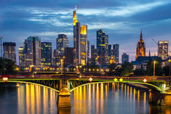 Illuminated Frankfurt skyline at night Royalty Free Stock Images