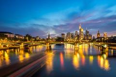 Illuminated Frankfurt skyline at night Royalty Free Stock Photos
