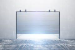 Illuminated garage with closed door royalty free illustration