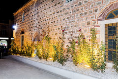 Illuminated garden with roses in the old town of Plovdiv -night scene. Night scene  in Plovdiv - Bulgaria .Plovdiv Architecture Stock Photography