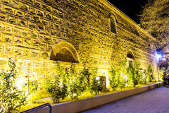 Illuminated garden with roses in the old town of Plovdiv -night scene Stock Photos