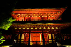 Illuminated the gate of old Japanese temple, Kyoto Royalty Free Stock Image