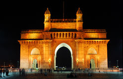 Illuminated Gateway of India at night Royalty Free Stock Image
