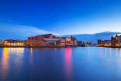 Illuminated Gdansk city sign at Motlawa river. Poland Stock Images