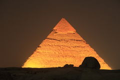 Illuminated Giza Pyramid, Egypt Stock Images