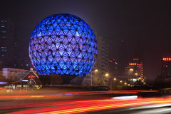 Illuminated globe, Friendship Square, Dalian, China Royalty Free Stock Photography