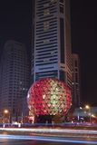 Illuminated globe, Friendship Square, Dalian, China. DALIAN-CHINA-OCT. 13. Friendship Square at night. The illuminated globe is a famous landmark at one of the Royalty Free Stock Photo