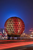 Illuminated globe at Friendship Square, Dalian, China. DALIAN-NOV. 7, 2012. Friendship Square at night on Nov. 7, 2012 in Dalian. The illuminated globe is a Royalty Free Stock Images