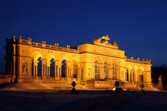 Illuminated Glorietta at Schonbrunn Park at winter royalty free stock image