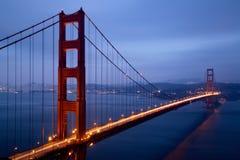 Illuminated Golden Gate Bridge at dusk, San Francisco Stock Photos