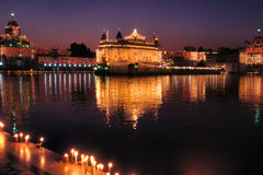 Illuminated Golden Temple,Amritsar,India. Golden Temple or Harminder Sahib,is one of the holiest shrines and culturally a significant places of worship for sikhs Stock Photos