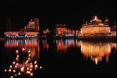 Illuminated Golden Temple,Amritsar,India. Golden Temple or Harminder Sahib,is one of the holiest shrines and culturally a significant places of worship for sikhs Royalty Free Stock Photography