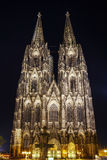 Illuminated Gothic Cologne Cathedral at Night, Germany Royalty Free Stock Images