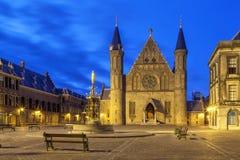Illuminated gothic facade of Ridderzaal, Hague Stock Photo