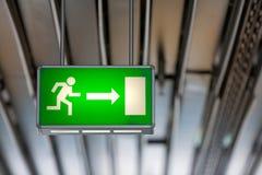 Illuminated green exit sign Stock Photography