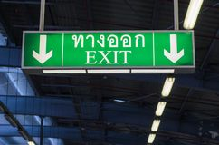 Illuminated green exit sign Royalty Free Stock Photography