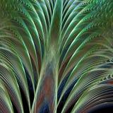 Illuminated Green Fans. Layered, softly illuminated, green fanning pattern (fractal abstract background Stock Image