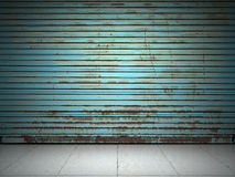 Illuminated grunge metallic roll up. Door Stock Photography