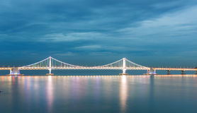 Illuminated Gwangalli Bridge. South Korea. Royalty Free Stock Photography