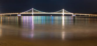 Illuminated Gwangalli Bridge. South Korea. Royalty Free Stock Photos