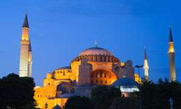 Illuminated Hagia Sophia at dawn Royalty Free Stock Images