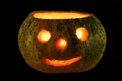 Illuminated halloween pumpkin, photo still life royalty free stock photo