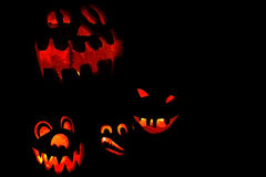 Illuminated Halloween pumpkins Stock Image