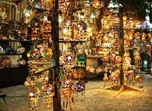 Illuminated handcrafted lanterns, Mexico. These beautiful handcrafted lanterns were exposed in the streets of Playa del Carmen, Mexico Royalty Free Stock Photo