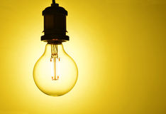 Illuminated  hanging light bulb Royalty Free Stock Images