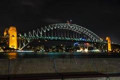 Illuminated Harbour Bridge in Sydney, Australia. The night lights of the Harbour Bridge in Sydney, Australia Royalty Free Stock Images
