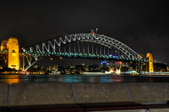Illuminated Harbour Bridge in Sydney, Australia. The night lights of the Harbour Bridge in Sydney, Australia Royalty Free Stock Image