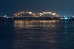 Illuminated Hernando Desoto Bridge at Night. Hernando Desoto Bridge over the Mississippi river in Memphis Tennessee Royalty Free Stock Photo