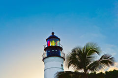 Illuminated historic lighthouse in Key West in Florida Stock Photo