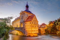 Illuminated historic town hall of Bamberg. Built in the 14th century royalty free stock image