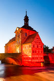 Illuminated historic town hall of Bamberg Royalty Free Stock Photography