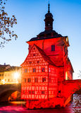 Illuminated historic town hall of Bamberg Royalty Free Stock Image