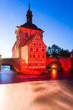 Illuminated historic town hall of Bamberg Stock Image