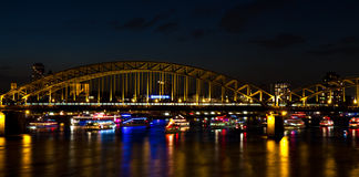 Illuminated Hohenzollern bridge Stock Image